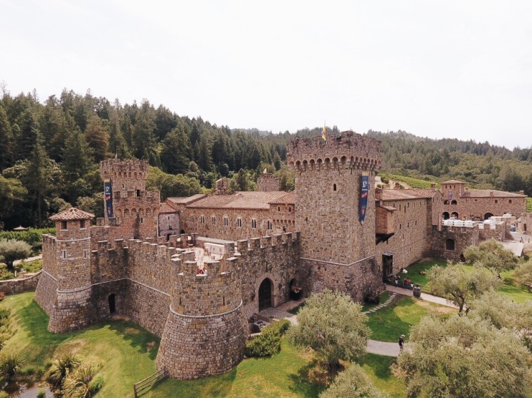 Castle, Castello di Armorosa, drone shot, drone photography, medieval, architecture, real estate, winery, Napa